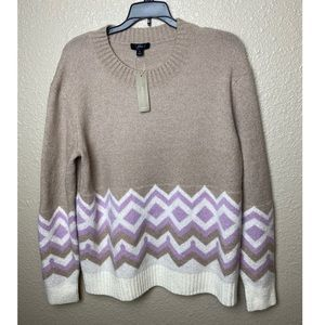 J. Crew Geometric Fair Isle Crewneck Sweater S
